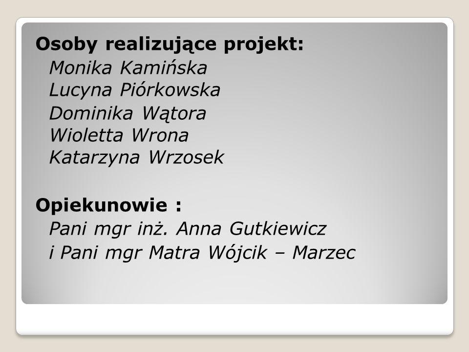 Osoby realizujące projekt: Monika Kamińska Lucyna Piórkowska Dominika Wątora Wioletta Wrona Katarzyna Wrzosek Opiekunowie : Pani mgr inż. Anna Gutkiew
