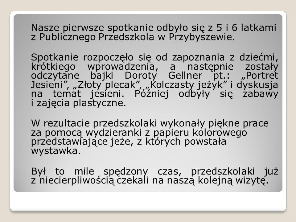 Nasze pierwsze spotkanie odbyło się z 5 i 6 latkami z Publicznego Przedszkola w Przybyszewie. Spotkanie rozpoczęło się od zapoznania z dziećmi, krótki