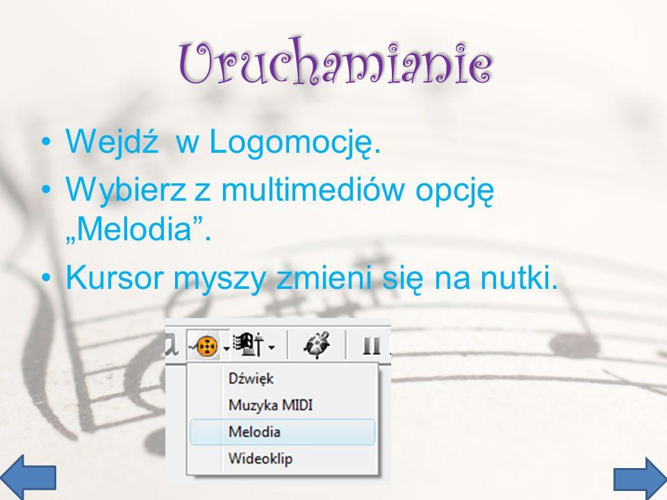 Uruchamianie Wejdź w Logomocję.Wybierz z multimediów opcję Melodia.