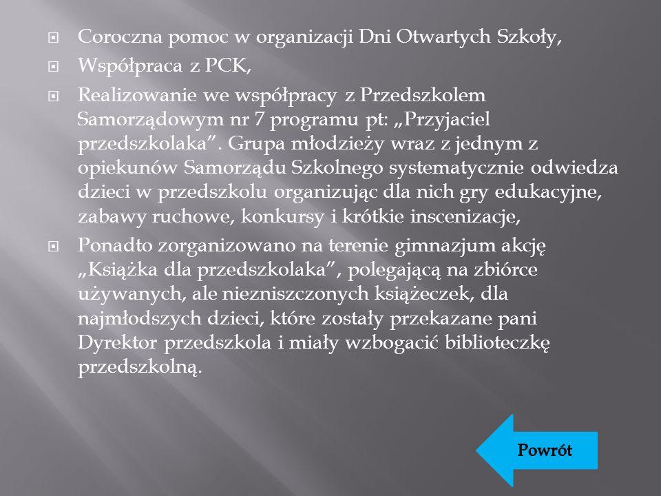 Coroczna pomoc w organizacji Dni Otwartych Szkoły, Współpraca z PCK, Realizowanie we współpracy z Przedszkolem Samorządowym nr 7 programu pt: Przyjaciel przedszkolaka.
