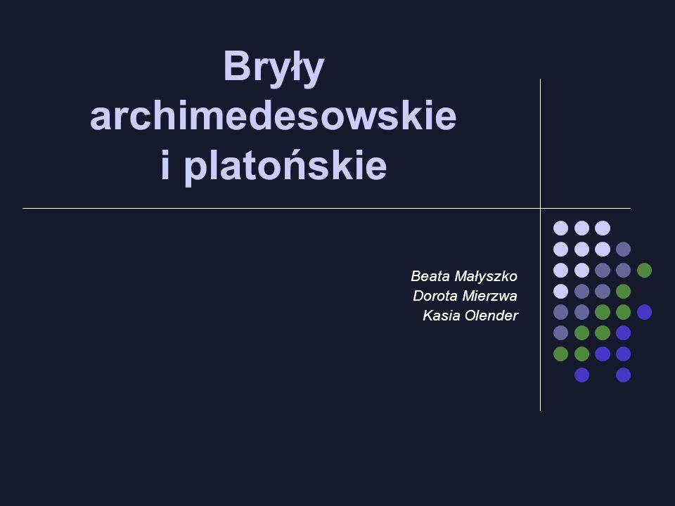 Bryły archimedesowskie i platońskie Beata Małyszko Dorota Mierzwa Kasia Olender