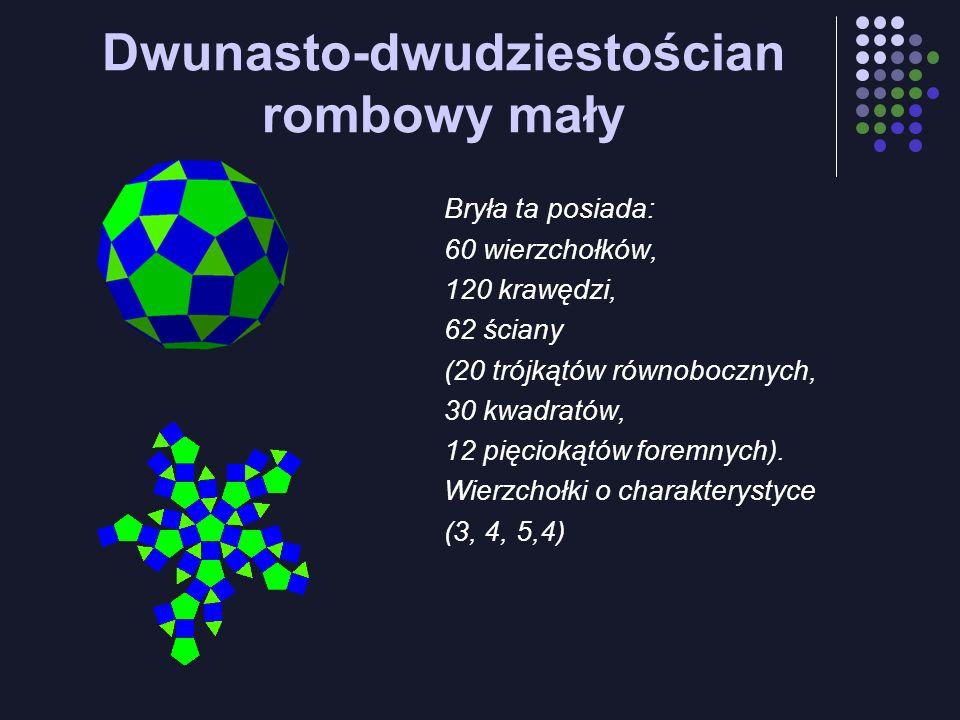Dwunasto-dwudziestościan rombowy mały Bryła ta posiada: 60 wierzchołków, 120 krawędzi, 62 ściany (20 trójkątów równobocznych, 30 kwadratów, 12 pięciok