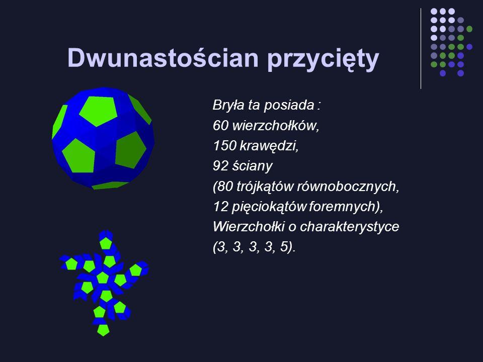 Dwunastościan przycięty Bryła ta posiada : 60 wierzchołków, 150 krawędzi, 92 ściany (80 trójkątów równobocznych, 12 pięciokątów foremnych), Wierzchołk