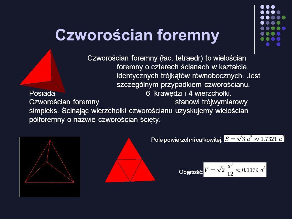 Czworościan foremny Czworościan foremny (łac. tetraedr) to wielościan foremny o czterech ścianach w kształcie identycznych trójkątów równobocznych. Je