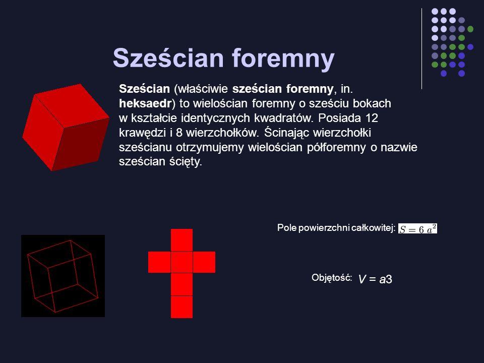Sześcian foremny Sześcian (właściwie sześcian foremny, in. heksaedr) to wielościan foremny o sześciu bokach w kształcie identycznych kwadratów. Posiad