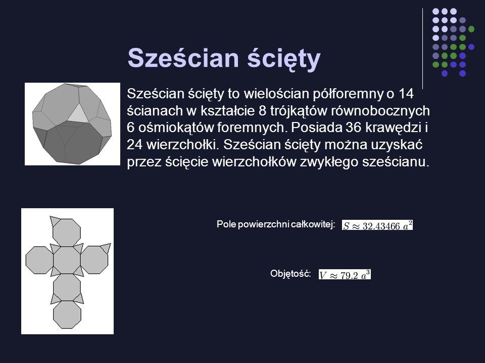 Sześcian ścięty Sześcian ścięty to wielościan półforemny o 14 ścianach w kształcie 8 trójkątów równobocznych i 6 ośmiokątów foremnych. Posiada 36 kraw