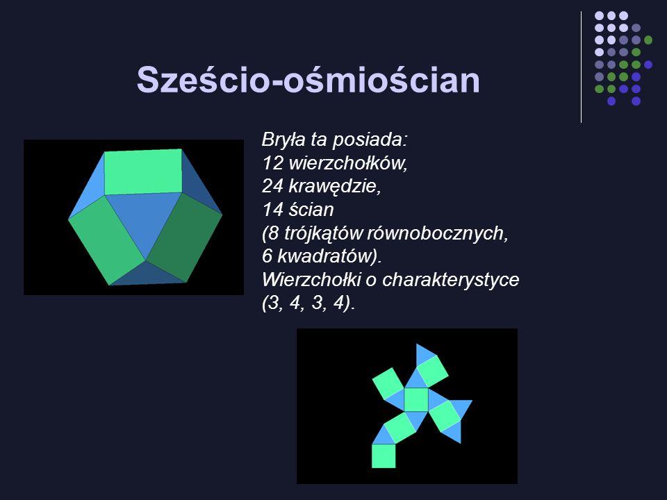 Sześcio-ośmiościan Bryła ta posiada: 12 wierzchołków, 24 krawędzie, 14 ścian (8 trójkątów równobocznych, 6 kwadratów). Wierzchołki o charakterystyce (