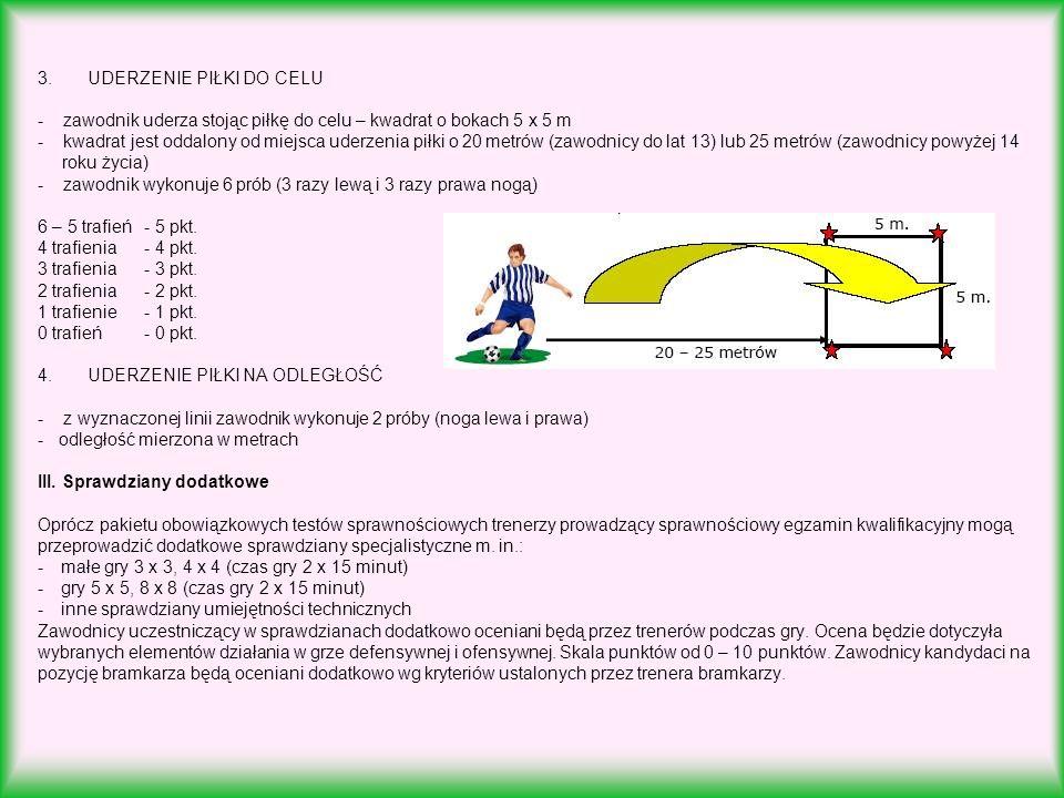 3. UDERZENIE PIŁKI DO CELU - zawodnik uderza stojąc piłkę do celu – kwadrat o bokach 5 x 5 m - kwadrat jest oddalony od miejsca uderzenia piłki o 20 m