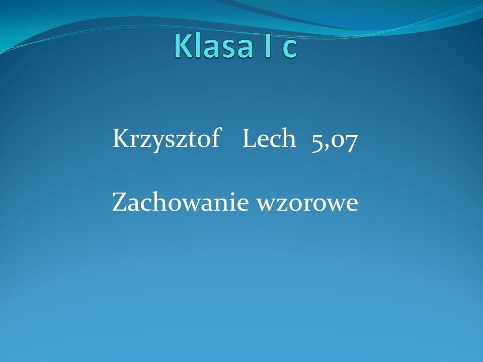Krzysztof Lech 5,07 Zachowanie wzorowe