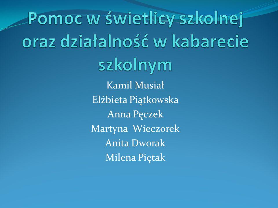 Kamil Musiał Elżbieta Piątkowska Anna Pęczek Martyna Wieczorek Anita Dworak Milena Piętak