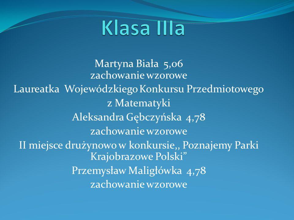 Martyna Biała 5,06 zachowanie wzorowe Laureatka Wojewódzkiego Konkursu Przedmiotowego z Matematyki Aleksandra Gębczyńska 4,78 zachowanie wzorowe II mi