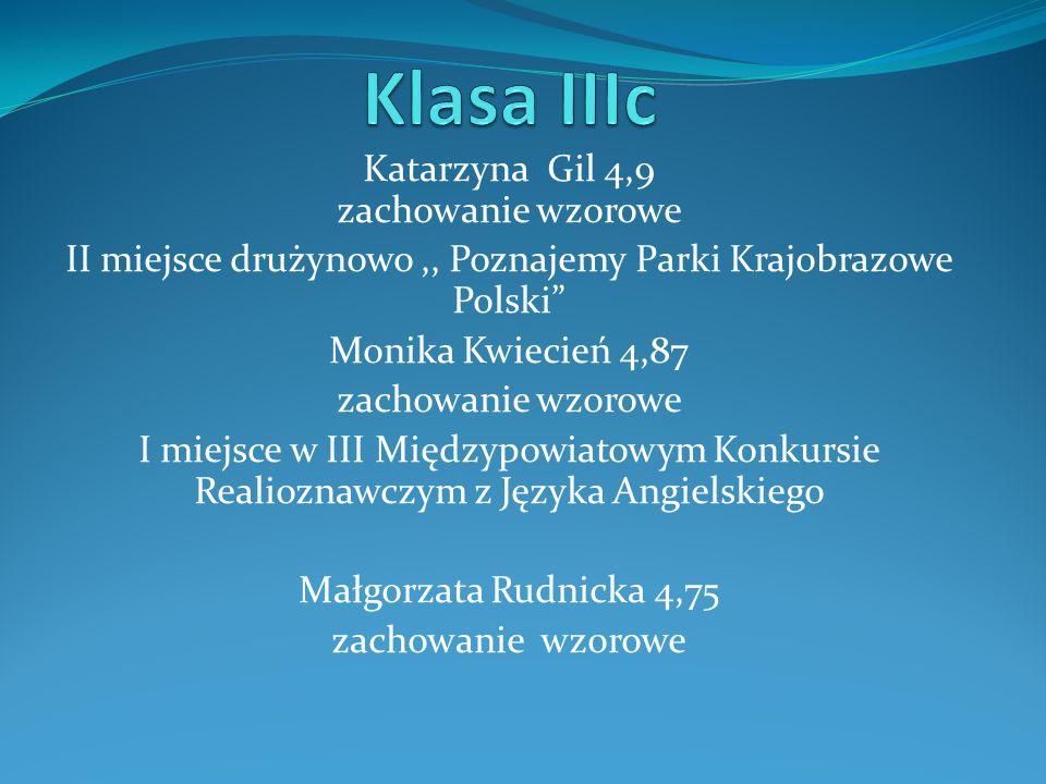Katarzyna Gil 4,9 zachowanie wzorowe II miejsce drużynowo,, Poznajemy Parki Krajobrazowe Polski Monika Kwiecień 4,87 zachowanie wzorowe I miejsce w II