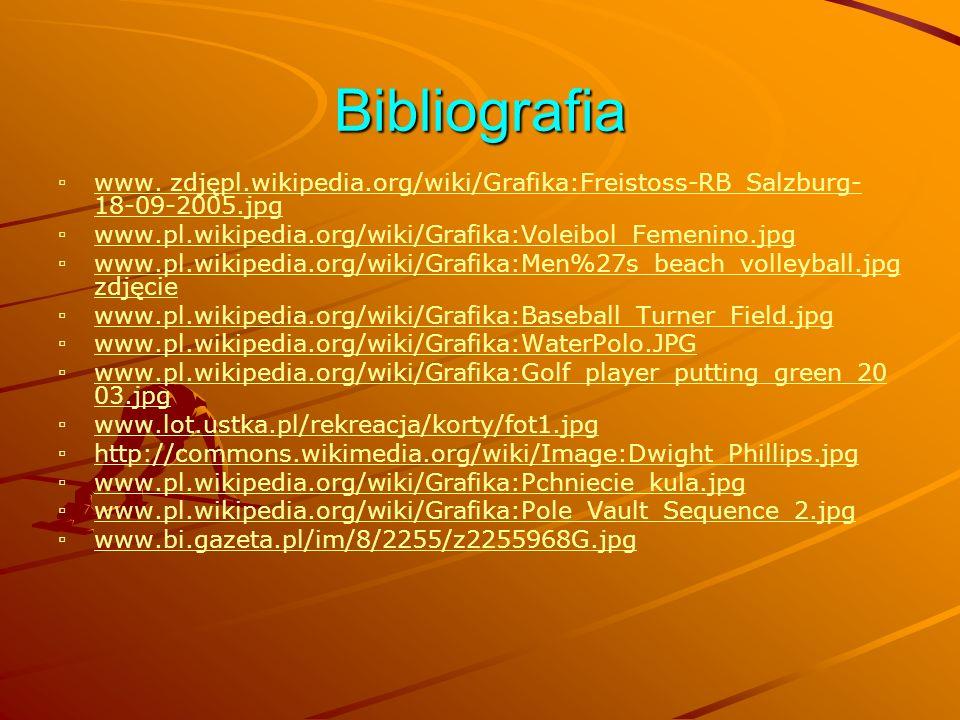 Bibliografia www. zdjępl.wikipedia.org/wiki/Grafika:Freistoss-RB_Salzburg- 18-09-2005.jpg www.pl.wikipedia.org/wiki/Grafika:Voleibol_Femenino.jpg www.