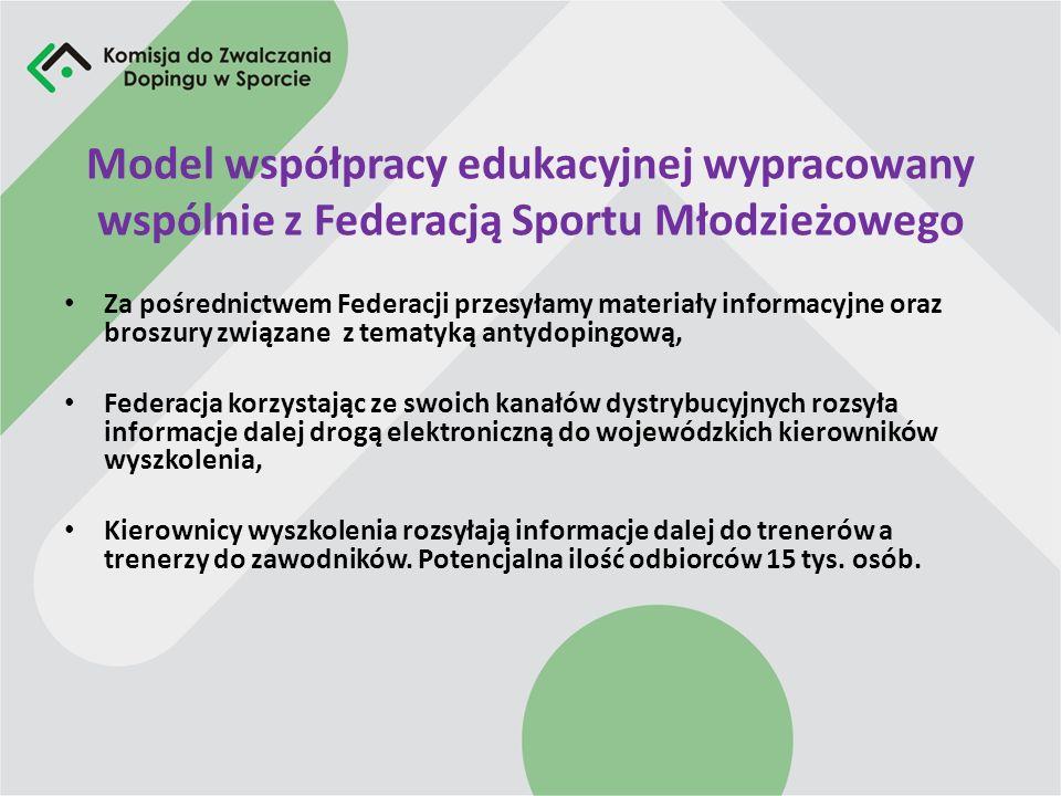 Model współpracy edukacyjnej wypracowany wspólnie z Federacją Sportu Młodzieżowego Za pośrednictwem Federacji przesyłamy materiały informacyjne oraz b