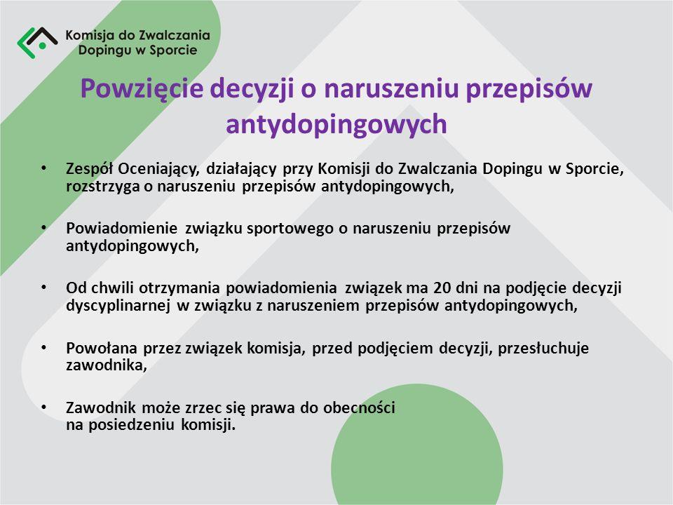 Orzekanie o karze Polski związek sportowy ma obowiązek podjąć decyzję w oparciu o przepisy Światowego Kodeksu Antydopingowego (WADAC), Przy orzekaniu należy brać pod uwagę wszystkie przesłanki zaostrzające jak i łagodzące odpowiedzialność zawodnika, Złagodzenie lub zaostrzenie kary może być powzięte jedynie w granicach określonych w WADAC.