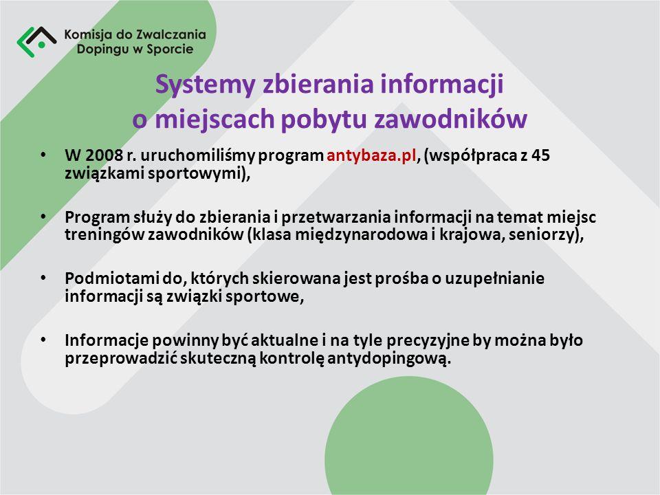 Systemy zbierania informacji o miejscach pobytu zawodników W 2008 r. uruchomiliśmy program antybaza.pl, (współpraca z 45 związkami sportowymi), Progra