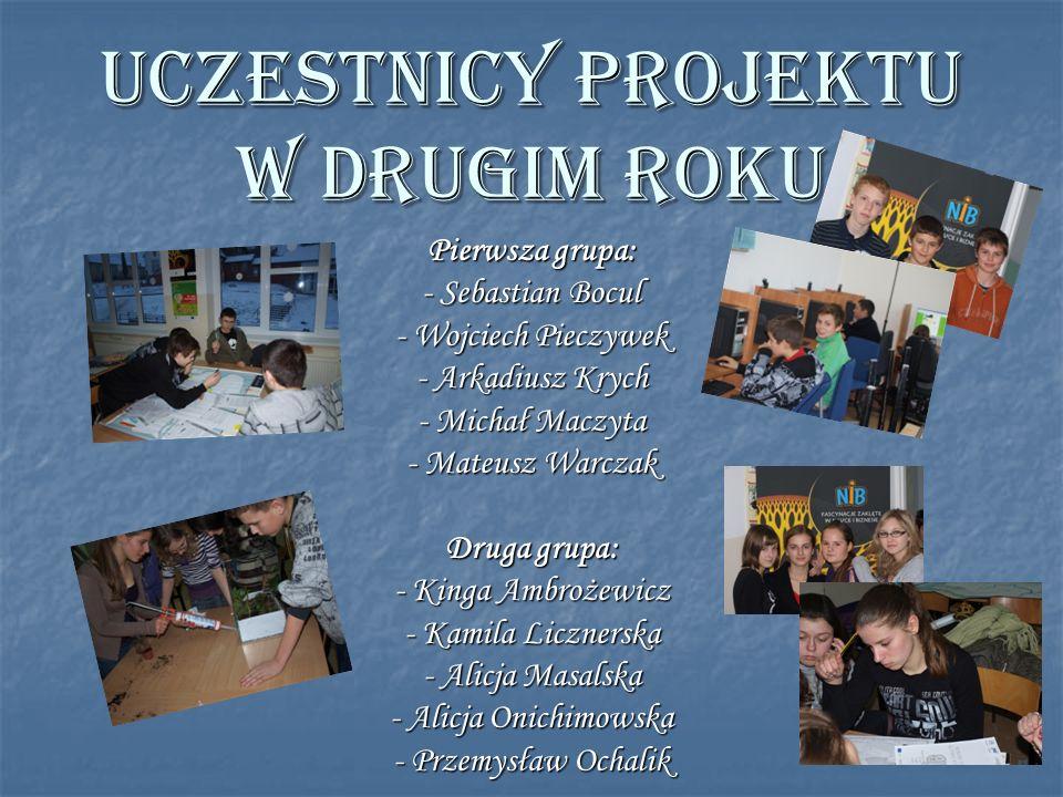 UCZESTNICY projektu w drugim roku Pierwsza grupa: - Sebastian Bocul - Wojciech Pieczywek - Arkadiusz Krych - Michał Maczyta - Mateusz Warczak Druga gr
