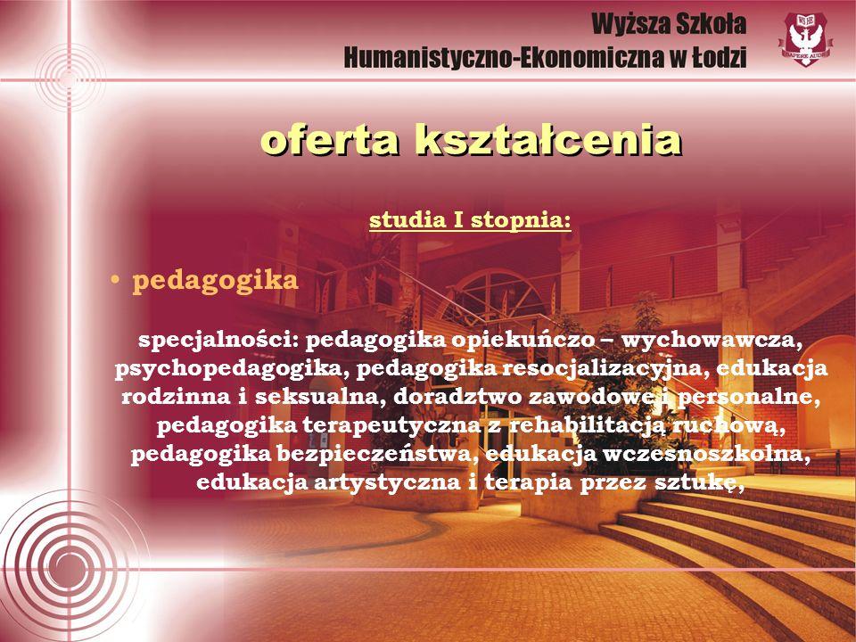 oferta kształcenia studia I stopnia: pedagogika specjalności: pedagogika opiekuńczo – wychowawcza, psychopedagogika, pedagogika resocjalizacyjna, eduk