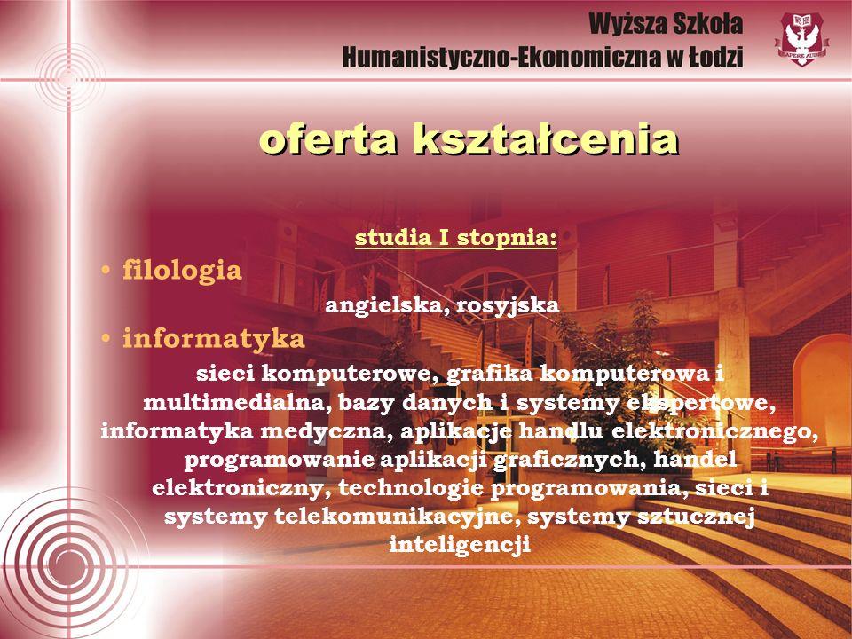 oferta kształcenia studia I stopnia: filologia angielska, rosyjska informatyka sieci komputerowe, grafika komputerowa i multimedialna, bazy danych i s