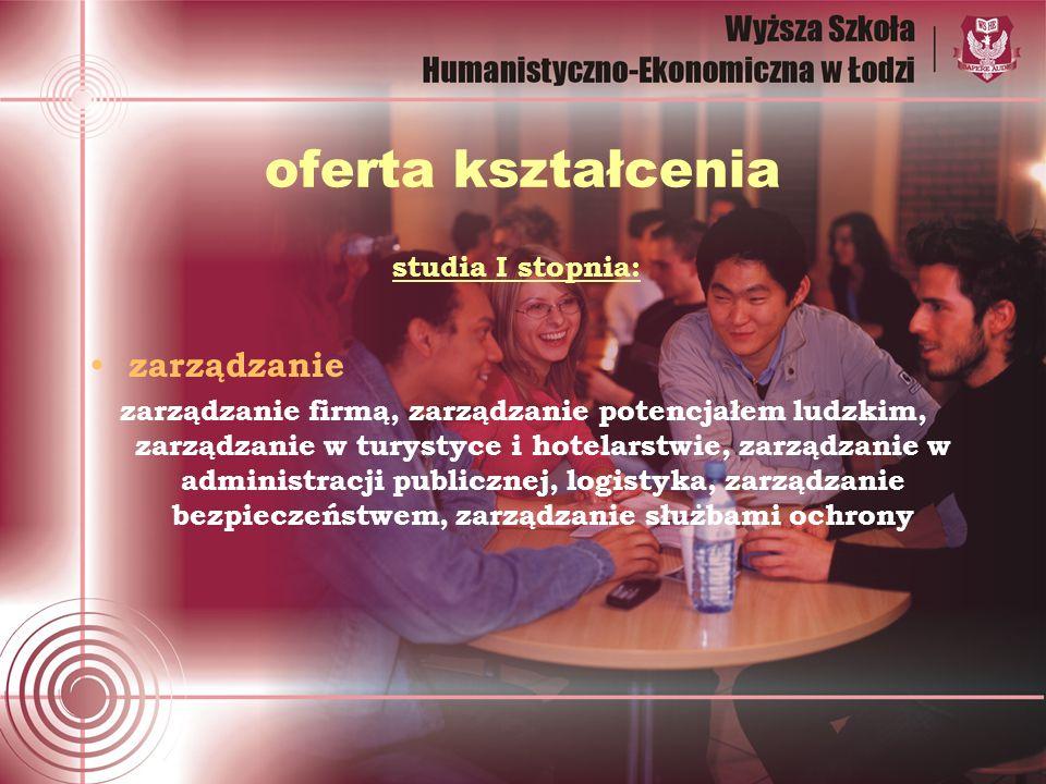 oferta kształcenia studia I stopnia: zarządzanie zarządzanie firmą, zarządzanie potencjałem ludzkim, zarządzanie w turystyce i hotelarstwie, zarządzanie w administracji publicznej, logistyka, zarządzanie bezpieczeństwem, zarządzanie służbami ochrony