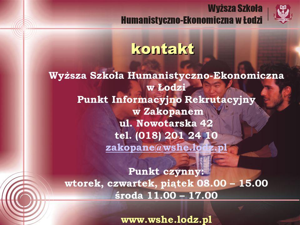 kontakt Wyższa Szkoła Humanistyczno-Ekonomiczna w Łodzi Punkt Informacyjno Rekrutacyjny w Zakopanem ul.