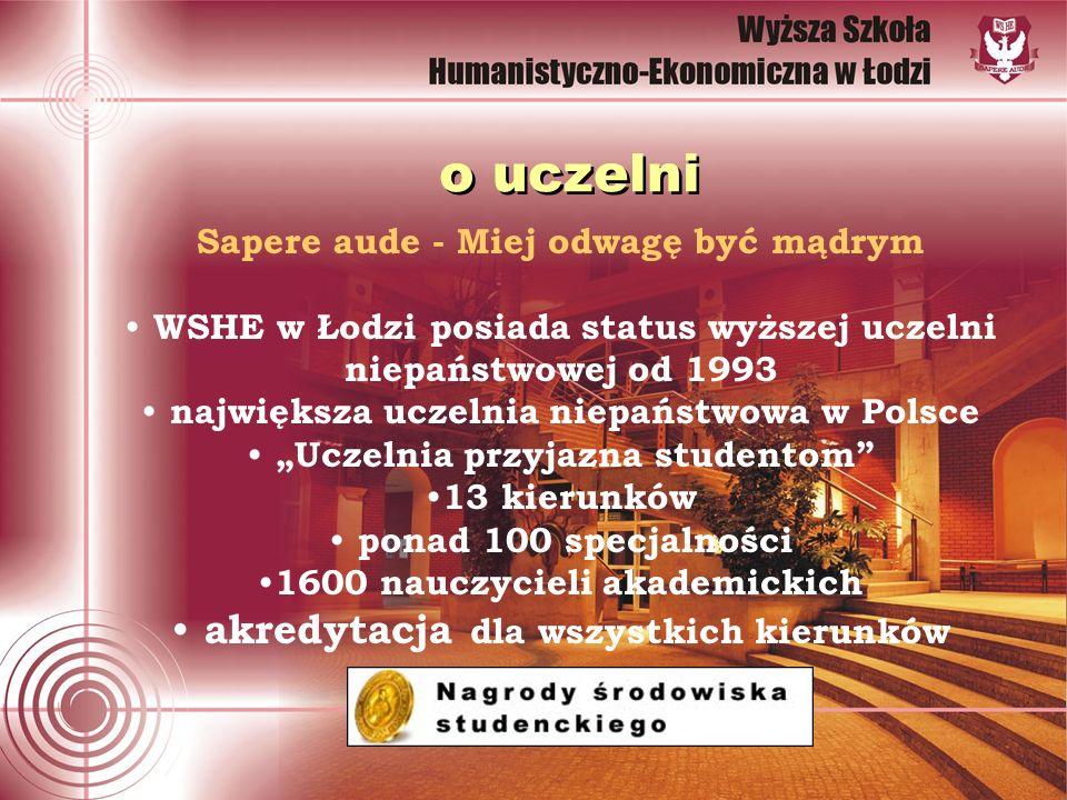 o uczelni Sapere aude - Miej odwagę być mądrym WSHE w Łodzi posiada status wyższej uczelni niepaństwowej od 1993 największa uczelnia niepaństwowa w Polsce Uczelnia przyjazna studentom 13 kierunków ponad 100 specjalności 1600 nauczycieli akademickich akredytacja dla wszystkich kierunków
