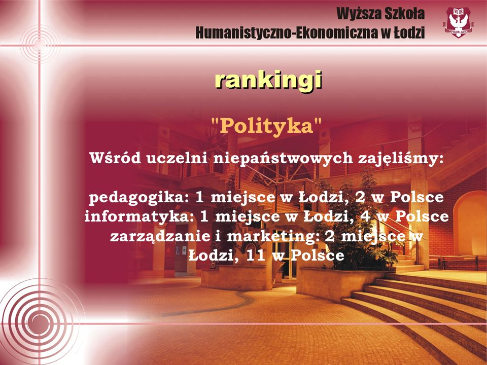 Polityka Wśród uczelni niepaństwowych zajęliśmy: pedagogika: 1 miejsce w Łodzi, 2 w Polsce informatyka: 1 miejsce w Łodzi, 4 w Polsce zarządzanie i marketing: 2 miejsce w Łodzi, 11 w Polsce rankingi