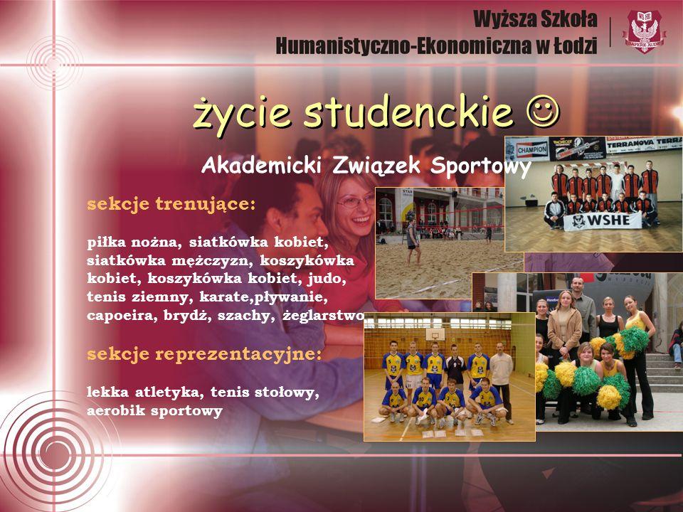 Akademicki Związek Sportowy życie studenckie sekcje trenujące: piłka nożna, siatkówka kobiet, siatkówka mężczyzn, koszykówka kobiet, koszykówka kobiet
