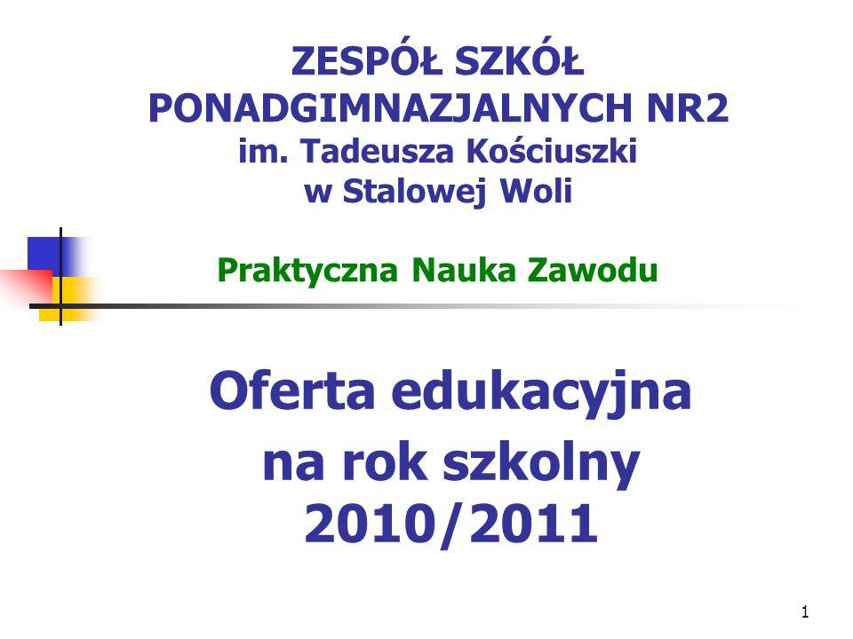 1 ZESPÓŁ SZKÓŁ PONADGIMNAZJALNYCH NR2 im. Tadeusza Kościuszki w Stalowej Woli Praktyczna Nauka Zawodu Oferta edukacyjna na rok szkolny 2010/2011
