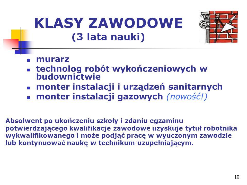 10 KLASY ZAWODOWE (3 lata nauki) murarz technolog robót wykończeniowych w budownictwie monter instalacji i urządzeń sanitarnych monter instalacji gazo