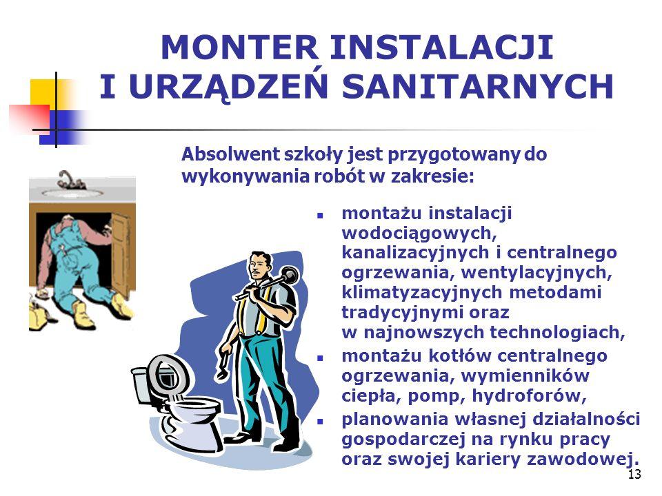 13 MONTER INSTALACJI I URZĄDZEŃ SANITARNYCH montażu instalacji wodociągowych, kanalizacyjnych i centralnego ogrzewania, wentylacyjnych, klimatyzacyjny