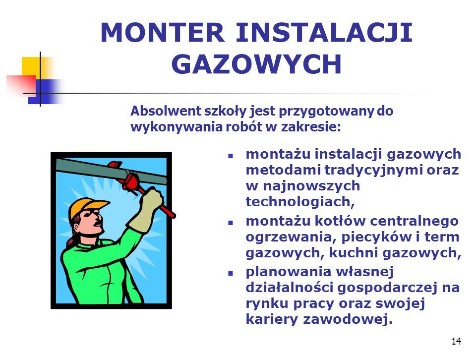 14 MONTER INSTALACJI GAZOWYCH montażu instalacji gazowych metodami tradycyjnymi oraz w najnowszych technologiach, montażu kotłów centralnego ogrzewani
