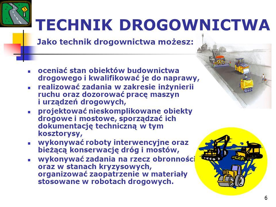 6 TECHNIK DROGOWNICTWA Jako technik drogownictwa możesz: oceniać stan obiektów budownictwa drogowego i kwalifikować je do naprawy, realizować zadania