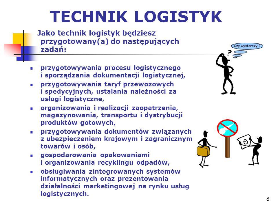 8 TECHNIK LOGISTYK Jako technik logistyk będziesz przygotowany(a) do następujących zadań: przygotowywania procesu logistycznego i sporządzania dokumen