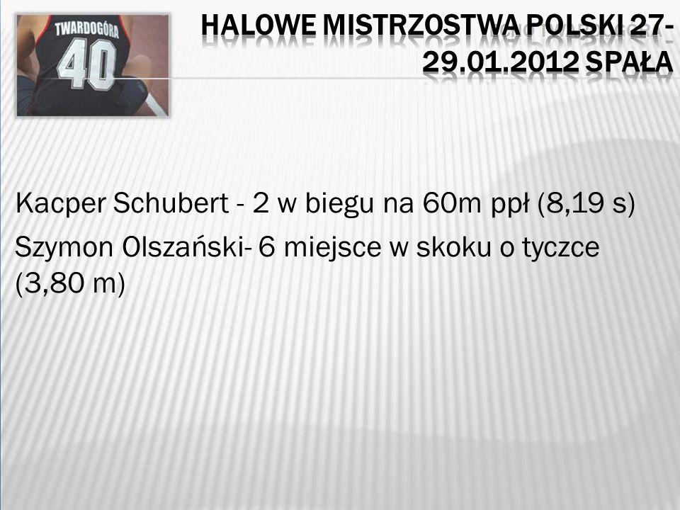 Kacper Schubert - 2 w biegu na 60m ppł (8,19 s) Szymon Olszański- 6 miejsce w skoku o tyczce (3,80 m)