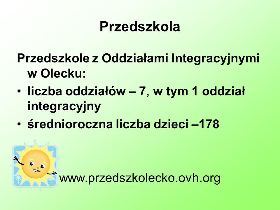 Przedszkola Przedszkole z Oddziałami Integracyjnymi w Olecku: liczba oddziałów – 7, w tym 1 oddział integracyjny średnioroczna liczba dzieci –178 www.przedszkolecko.ovh.org