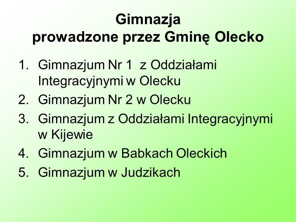 Gimnazja prowadzone przez Gminę Olecko 1.Gimnazjum Nr 1 z Oddziałami Integracyjnymi w Olecku 2.Gimnazjum Nr 2 w Olecku 3.Gimnazjum z Oddziałami Integracyjnymi w Kijewie 4.Gimnazjum w Babkach Oleckich 5.Gimnazjum w Judzikach