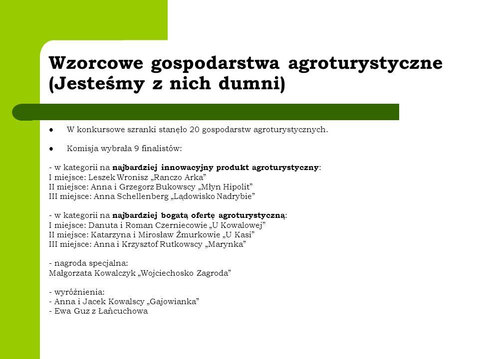 Wzorcowe gospodarstwa agroturystyczne (Jesteśmy z nich dumni) W konkursowe szranki stanęło 20 gospodarstw agroturystycznych. Komisja wybrała 9 finalis