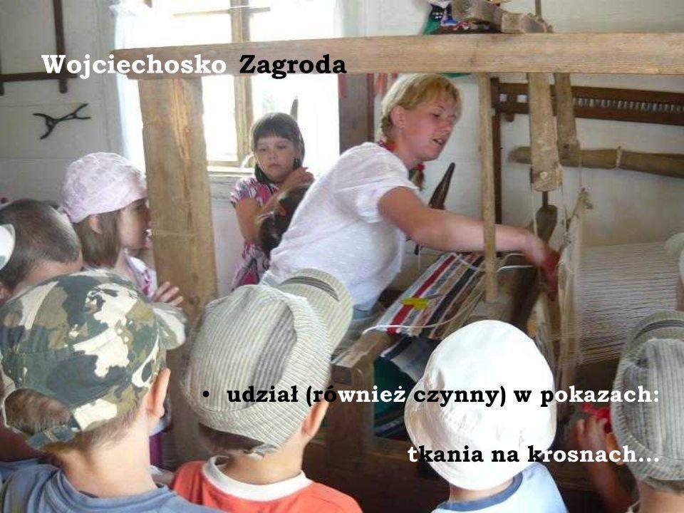 Wojciechosko Zagroda udział (również czynny) w pokazach: tkania na krosnach…