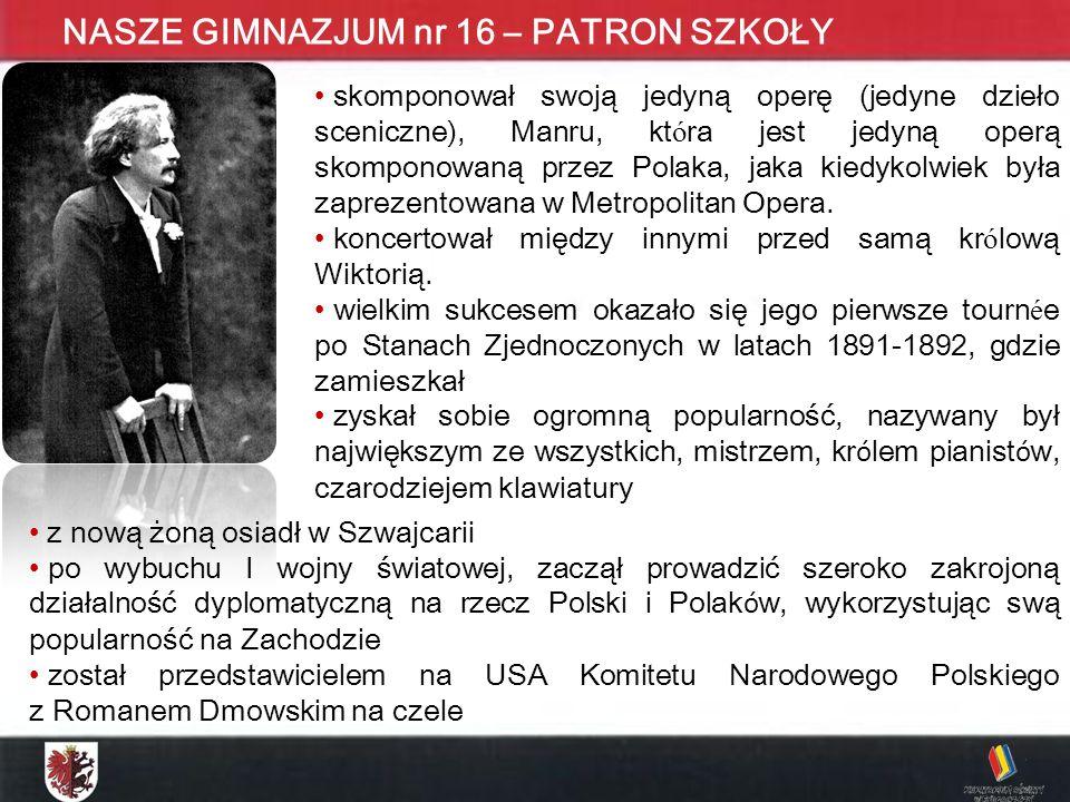 KONKURS MATEMATYCZNY DLA UCZNIÓW GIMNAZJUM ETAP WOJEWÓDZKI - 2009 NASZE GIMNAZJUM nr 16 – PATRON SZKOŁY skomponował swoją jedyną operę (jedyne dzieło sceniczne), Manru, kt ó ra jest jedyną operą skomponowaną przez Polaka, jaka kiedykolwiek była zaprezentowana w Metropolitan Opera.