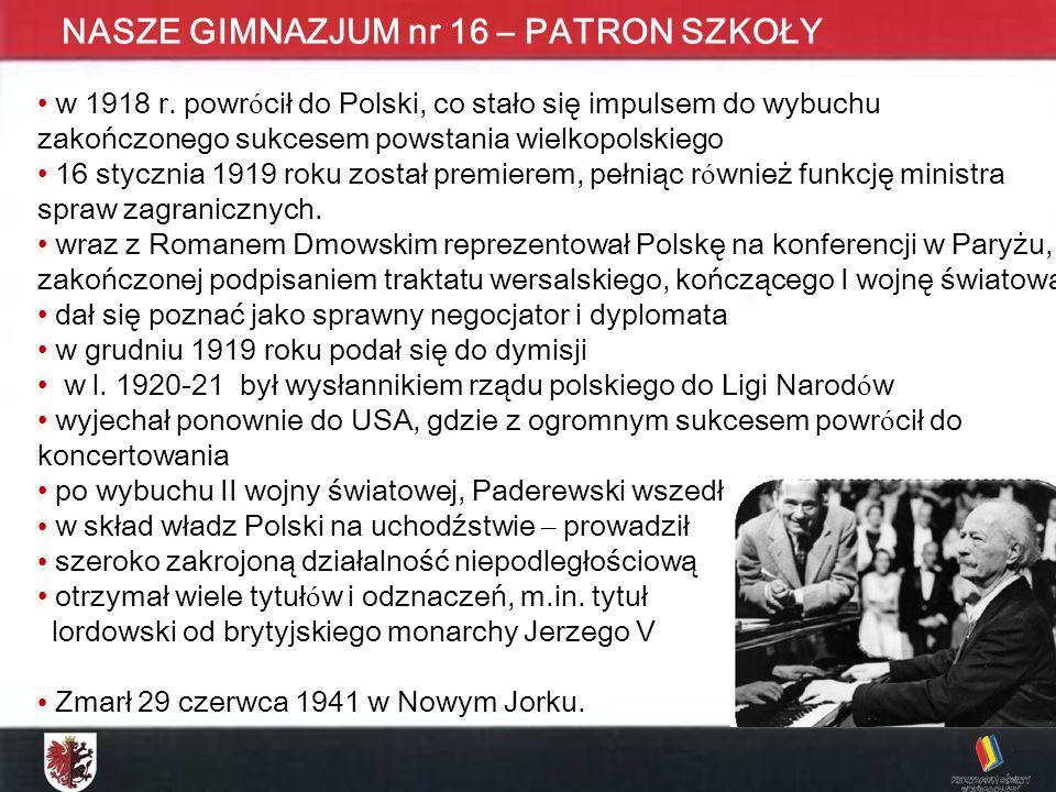 KONKURS MATEMATYCZNY DLA UCZNIÓW GIMNAZJUM ETAP WOJEWÓDZKI - 2009 NASZE GIMNAZJUM nr 16 – PATRON SZKOŁY w 1918 r. powr ó cił do Polski, co stało się i
