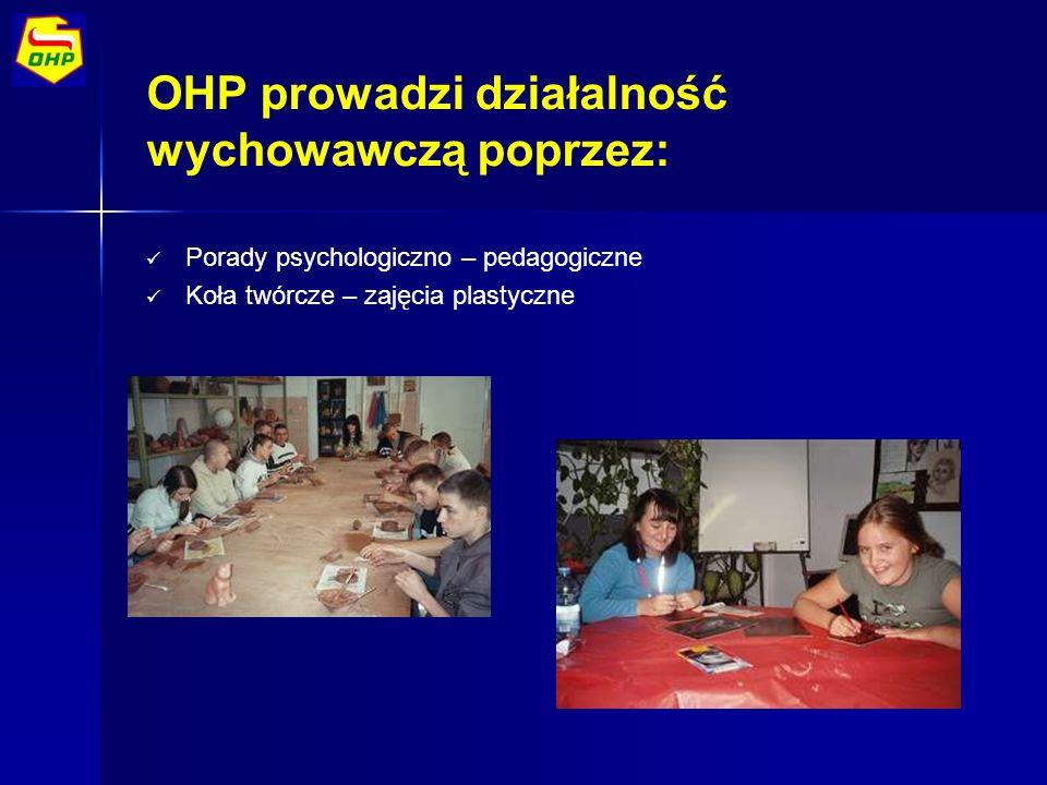OHP prowadzi działalność wychowawczą poprzez: Porady psychologiczno – pedagogiczne Koła twórcze – zajęcia plastyczne