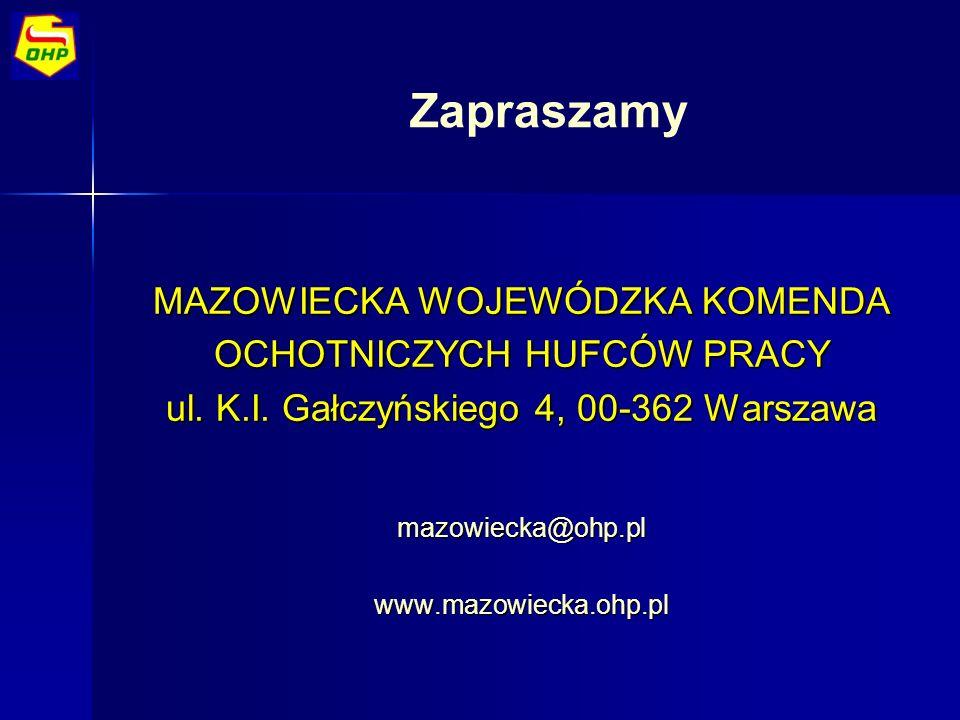 Zapraszamy MAZOWIECKA WOJEWÓDZKA KOMENDA OCHOTNICZYCH HUFCÓW PRACY ul. K.I. Gałczyńskiego 4, 00-362 Warszawa mazowiecka@ohp.plwww.mazowiecka.ohp.pl