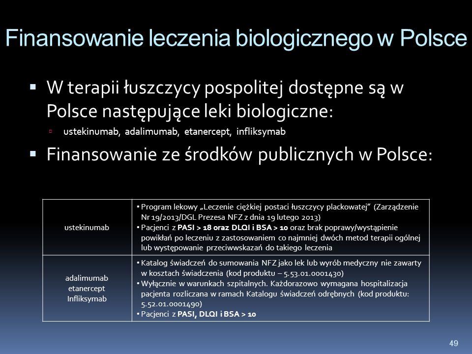 49 Finansowanie leczenia biologicznego w Polsce W terapii łuszczycy pospolitej dostępne są w Polsce następujące leki biologiczne: ustekinumab, adalimu