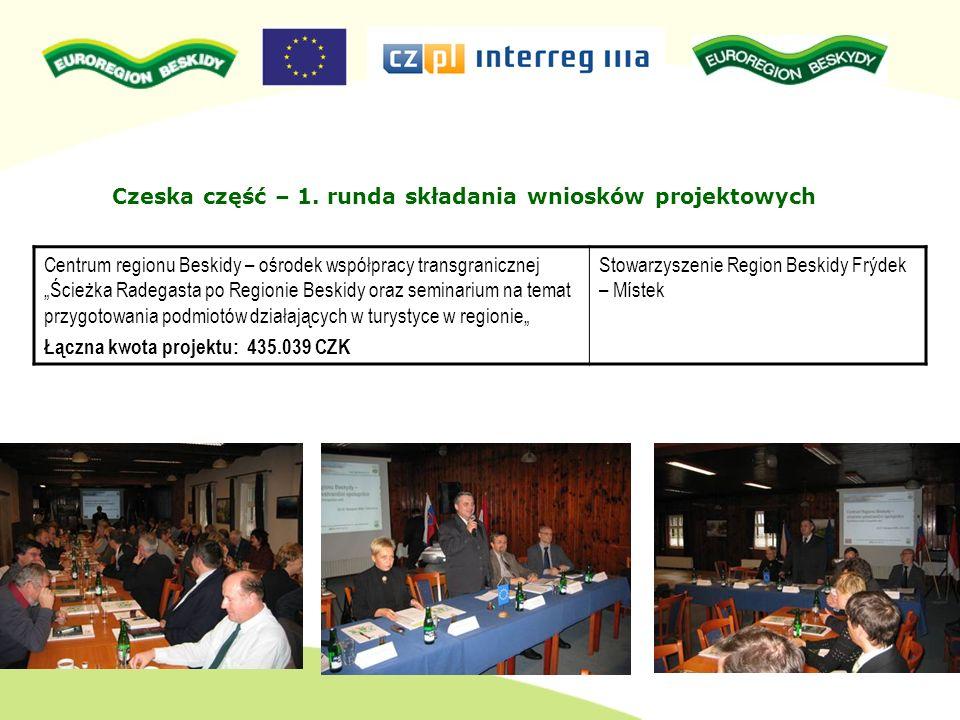 Alokacja po czeskiej stronie dla 2 rundy: 3.860.596 CZK kosztów całkowitych projektów Zatwierdzone projekty CZ w całkowitej kwocie kosztów projektu: 3.405.500 CZK Projekty nie zatwierdzone: nie było Projekty 2 rundy są realizowane i zakończone.