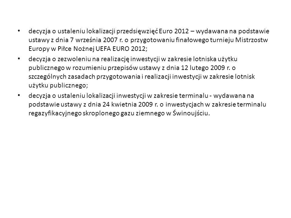 decyzja o ustaleniu lokalizacji przedsięwzięć Euro 2012 – wydawana na podstawie ustawy z dnia 7 września 2007 r.