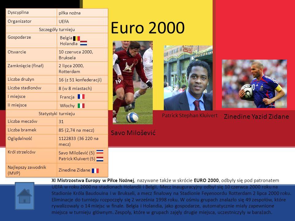 Euro 2000 Savo Milošević Patrick Stephan Kluivert XI Mistrzostwa Europy w Piłce Nożnej, nazywane także w skrócie EURO 2000, odbyły się pod patronatem