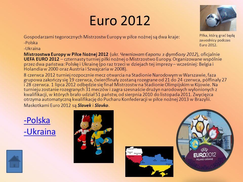 Euro 2012 Gospodarzami tegorocznych Mistrzostw Europy w piłce nożnej są dwa kraje: -Polska -Ukraina Mistrzostwa Europy w Piłce Nożnej 2012 (ukr. Чемпі