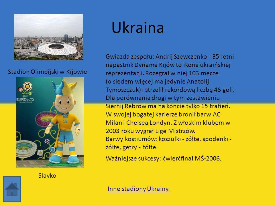Ukraina Stadion Olimpijski w Kijowie Gwiazda zespołu: Andrij Szewczenko - 35-letni napastnik Dynama Kijów to ikona ukraińskiej reprezentacji. Rozegrał