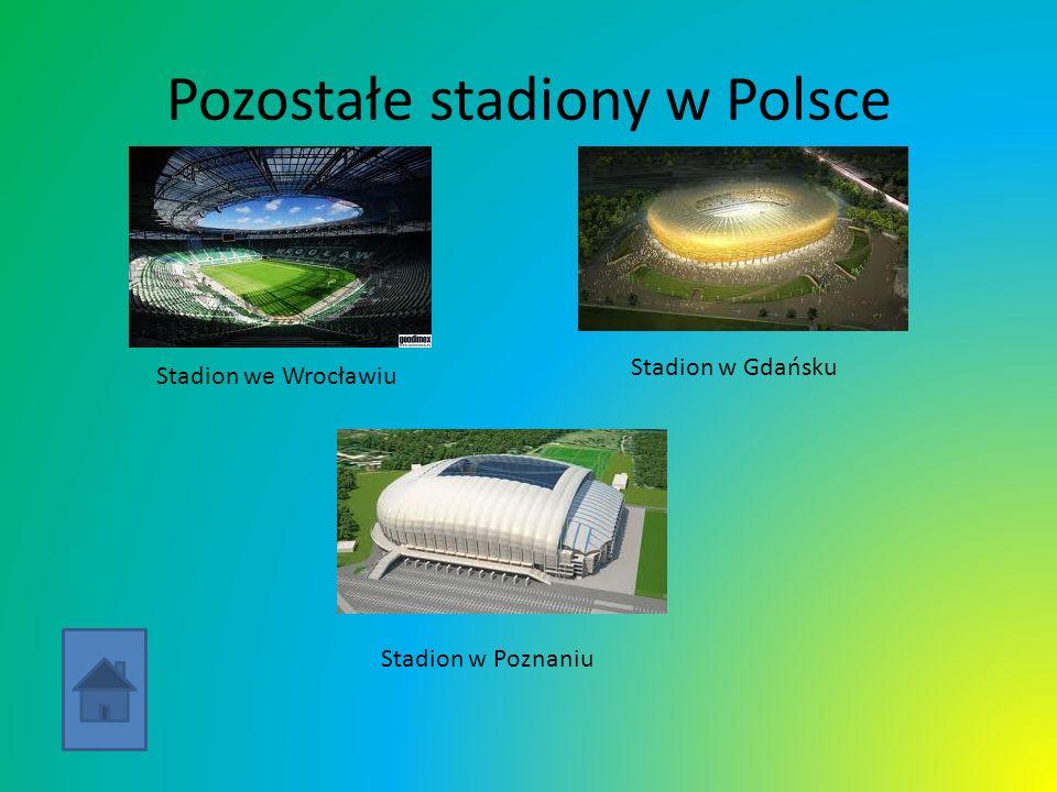 Pozostałe stadiony w Polsce Stadion we Wrocławiu Stadion w Gdańsku Stadion w Poznaniu